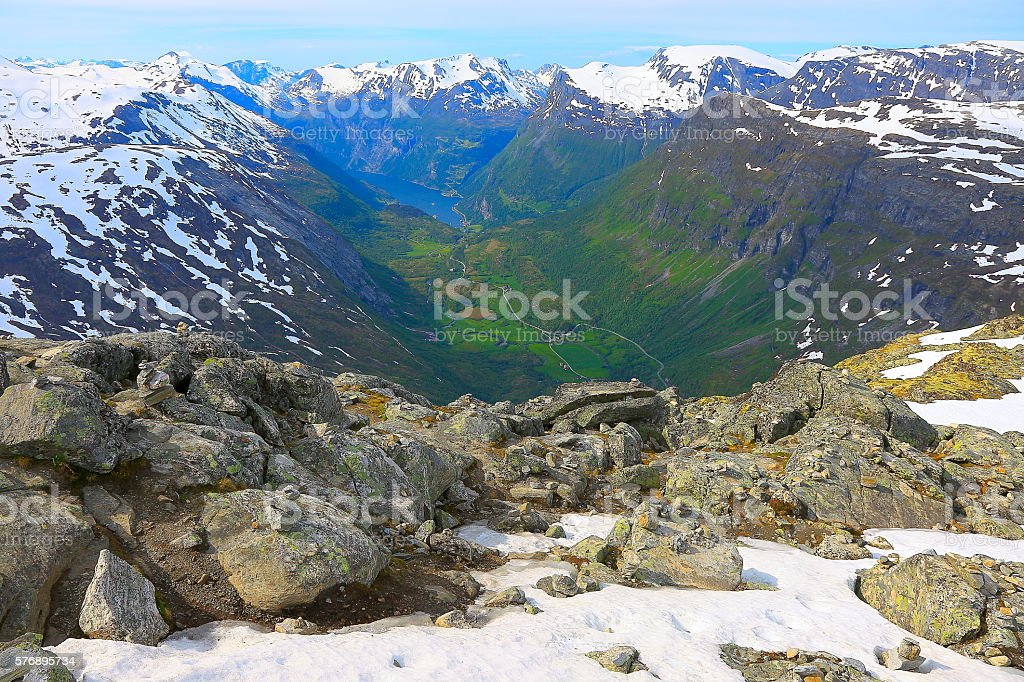 Geiranger fjord aerial view from Mount Dalsnibba, Norway, Scandinavia stock photo