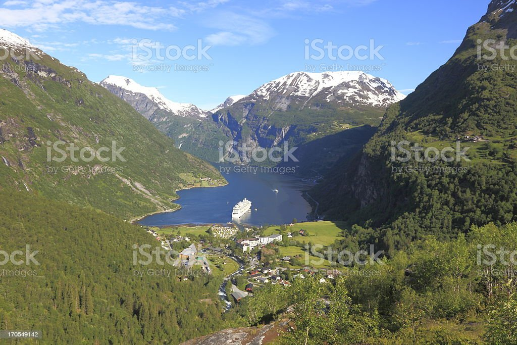 Geiranger fjord and snow mountain w ship cruise, Norway, Scandinavia royalty-free stock photo
