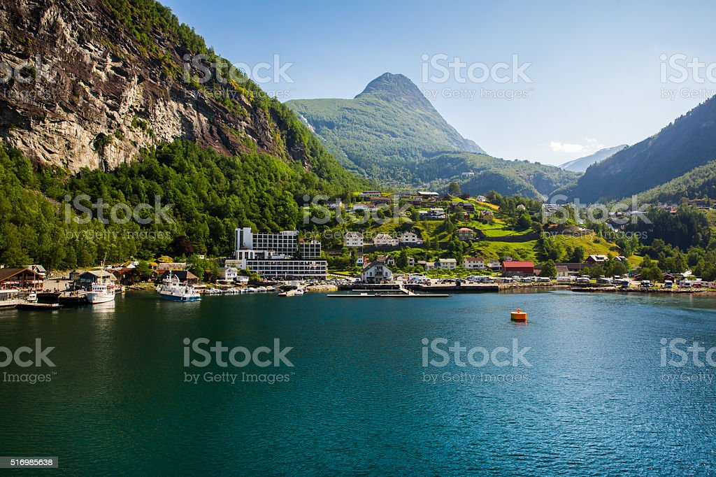 Geiranger fjord and the city of Geiranger . Norway stock photo