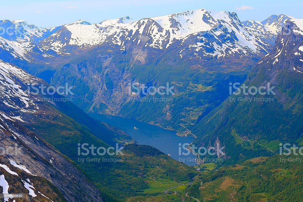 Geiranger fjord cruise aerial view, Mount Dalsnibba, Norway, Scandinavia stock photo