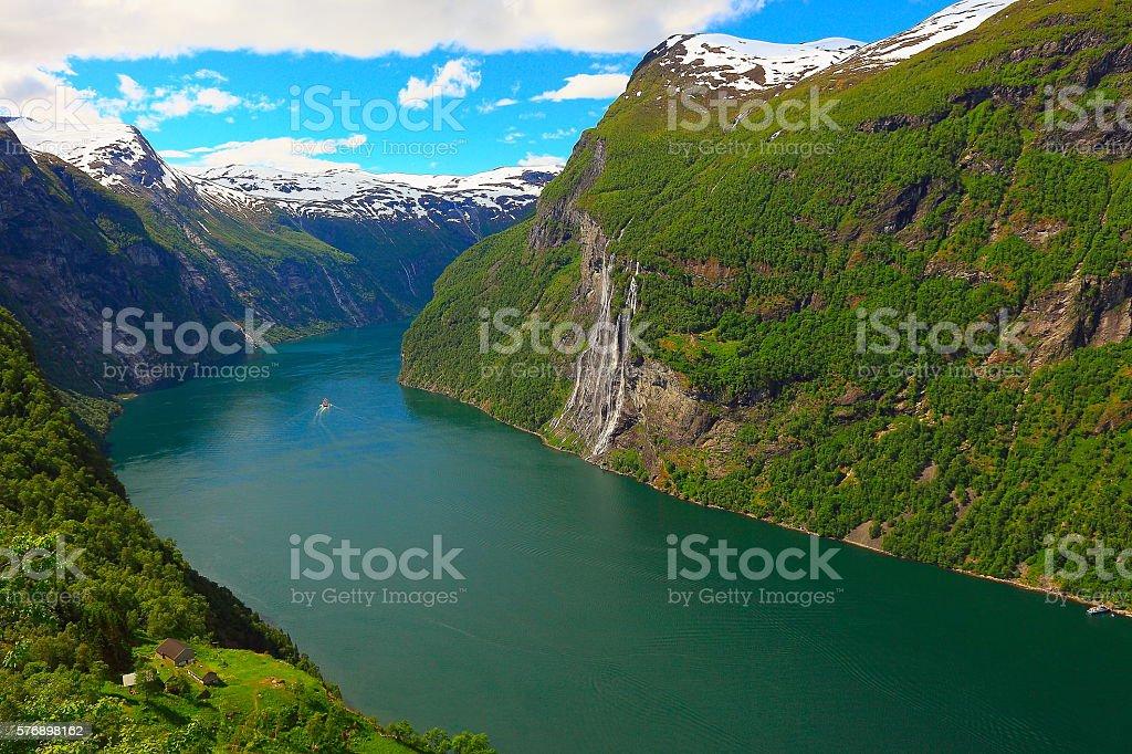 Geiranger fjord, Cruise ship, Seven Sisters Waterfall - Norway, Scandinavia stock photo