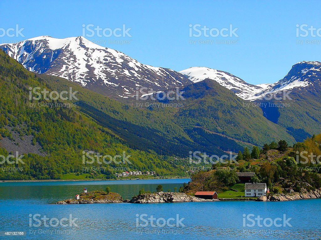 Geiranger fjord green landscape from cruise, Norway, Scandinavia stock photo