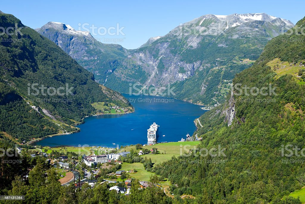 geiranger fjord in norway with cruise ship stock photo