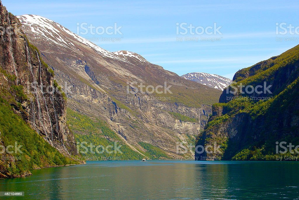 Geiranger fjord seven sisters waterfall from ship, Norway, Scandinavia stock photo