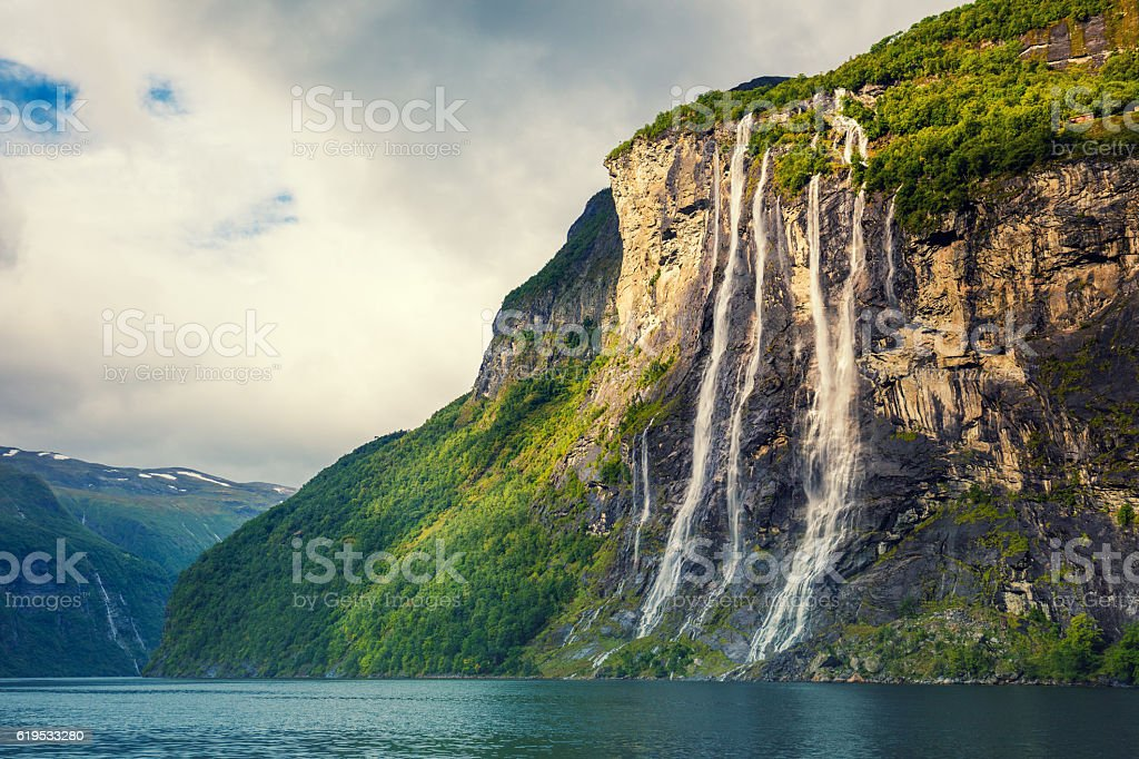 Geiranger fjord. Seven Sisters Waterfall, Norway stock photo
