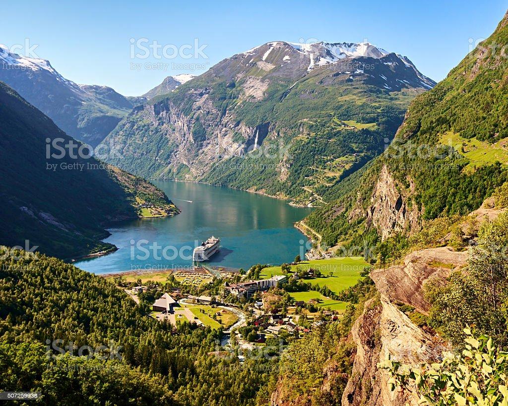 Geiranger fjord view, Norway stock photo
