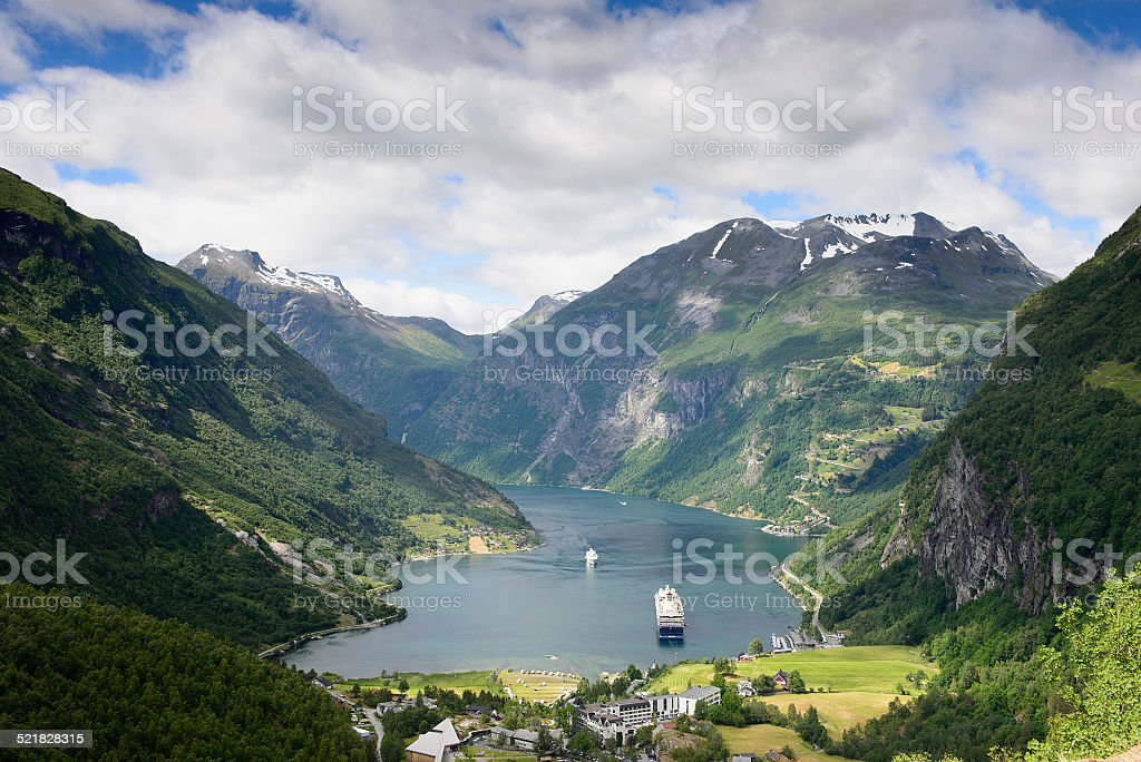 Geiranger fjord view stock photo