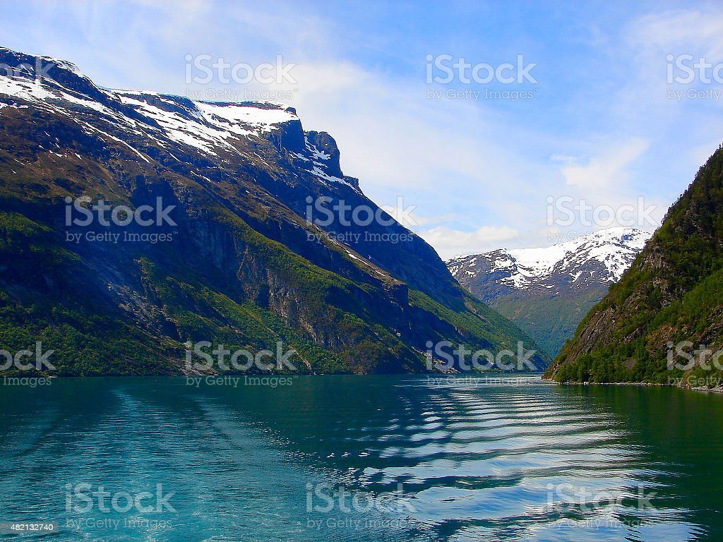 Geiranger fjord waves landscape, Norway, Scandinavia, Nordic countries stock photo