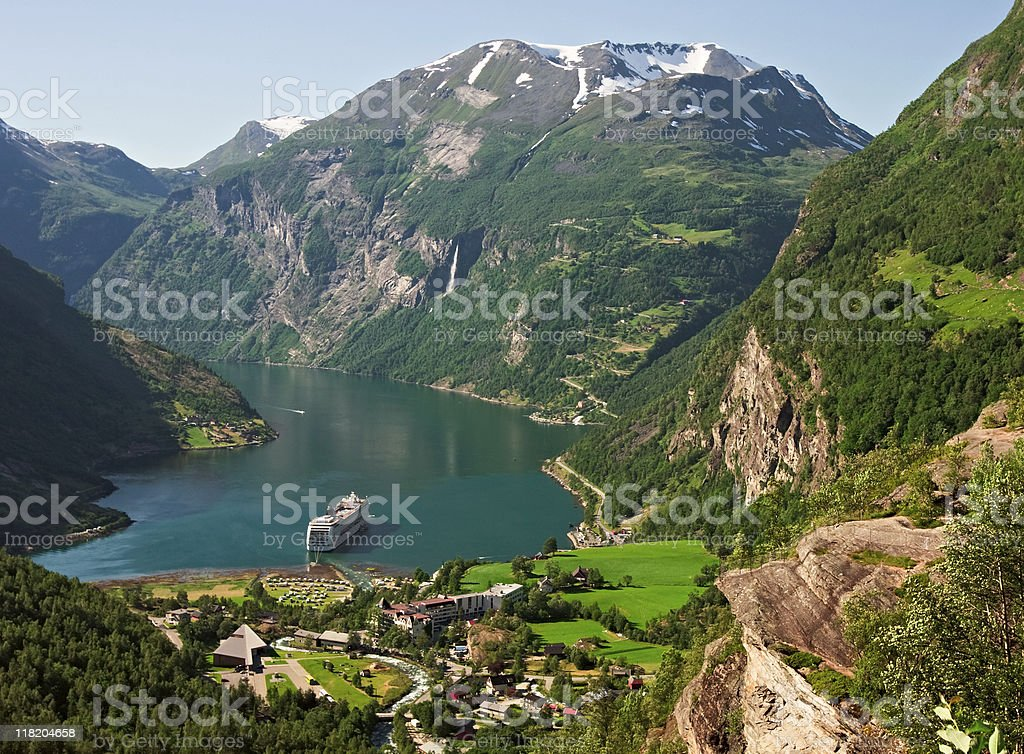 Geiranger fjord with cruise ship, Norway stock photo
