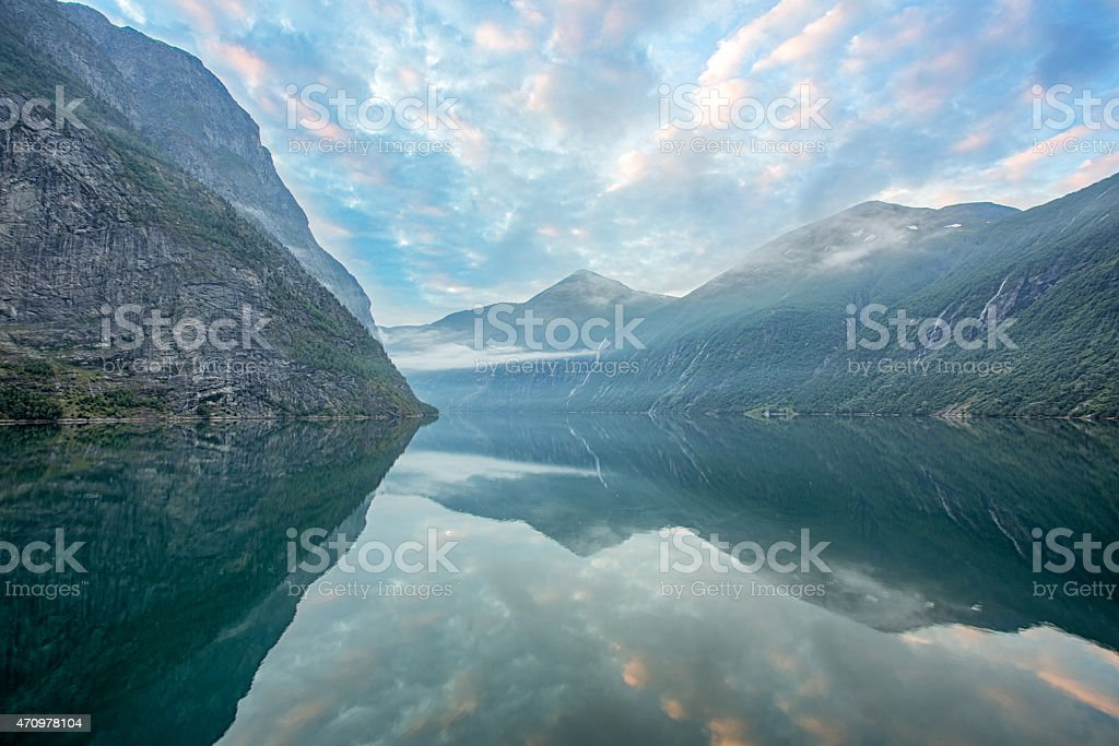 Geirangerfjord in Norway at Sunrise stock photo