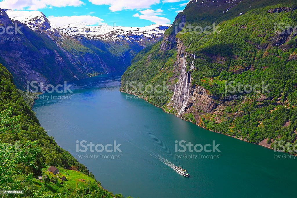 Geirangerfjord, one Cruise ship, Seven Sisters Waterfall - Norway, Scandinavia stock photo