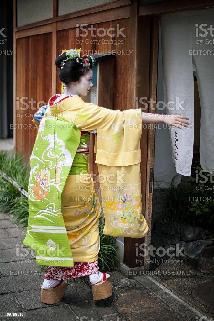 Geisha in Kyoto, Japan. stock photo