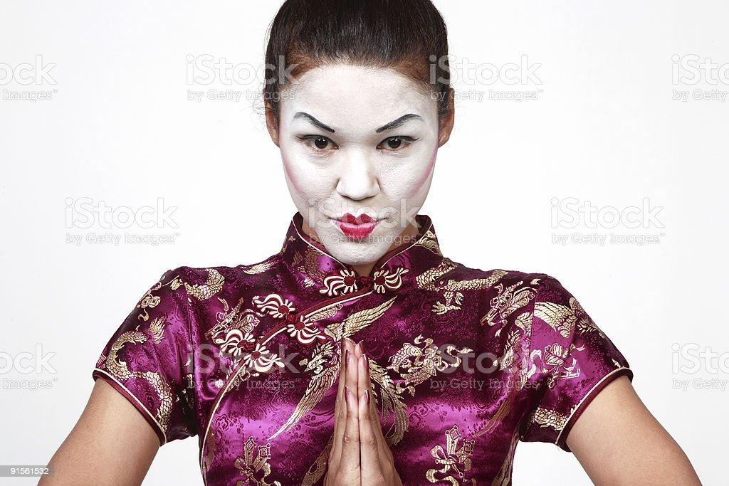 Geisha praying royalty-free stock photo