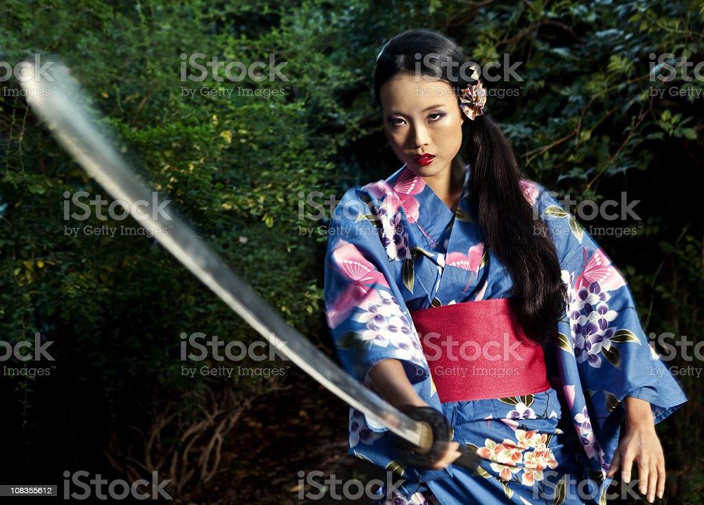 Geisha Samurai stock photo