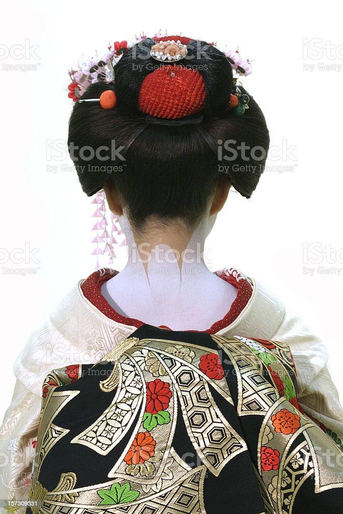 Geisha's back isolated on white stock photo