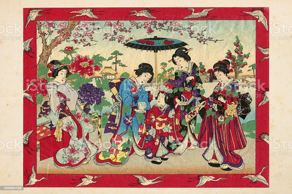 Geishas with princess and court ladies woodcut 1880 stock photo