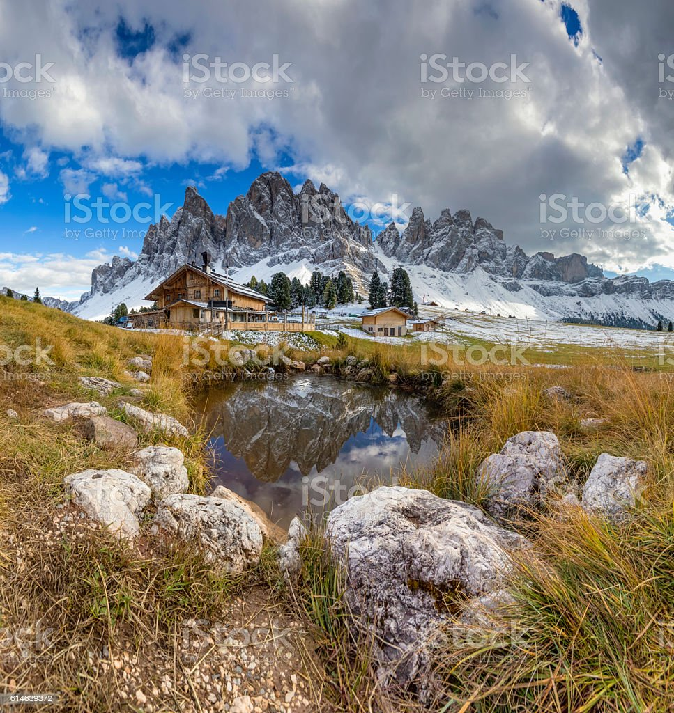 Geisler Group in Geisler National Park, Alps - South Tirol stock photo