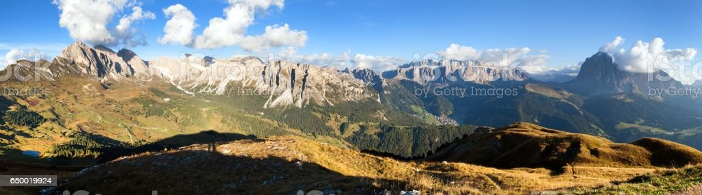 Geislergruppe or Gruppo delle Odle and Sella gruppe stock photo