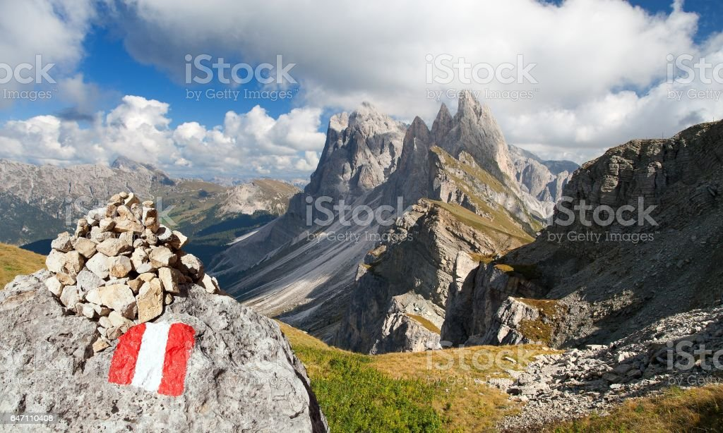 Geislergruppe or Gruppo delle Odle with tourist sign stock photo