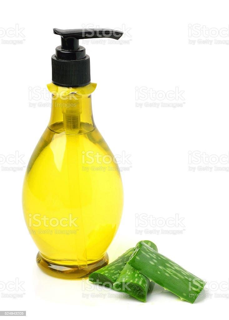 Gel bottle and aloe vera stock photo