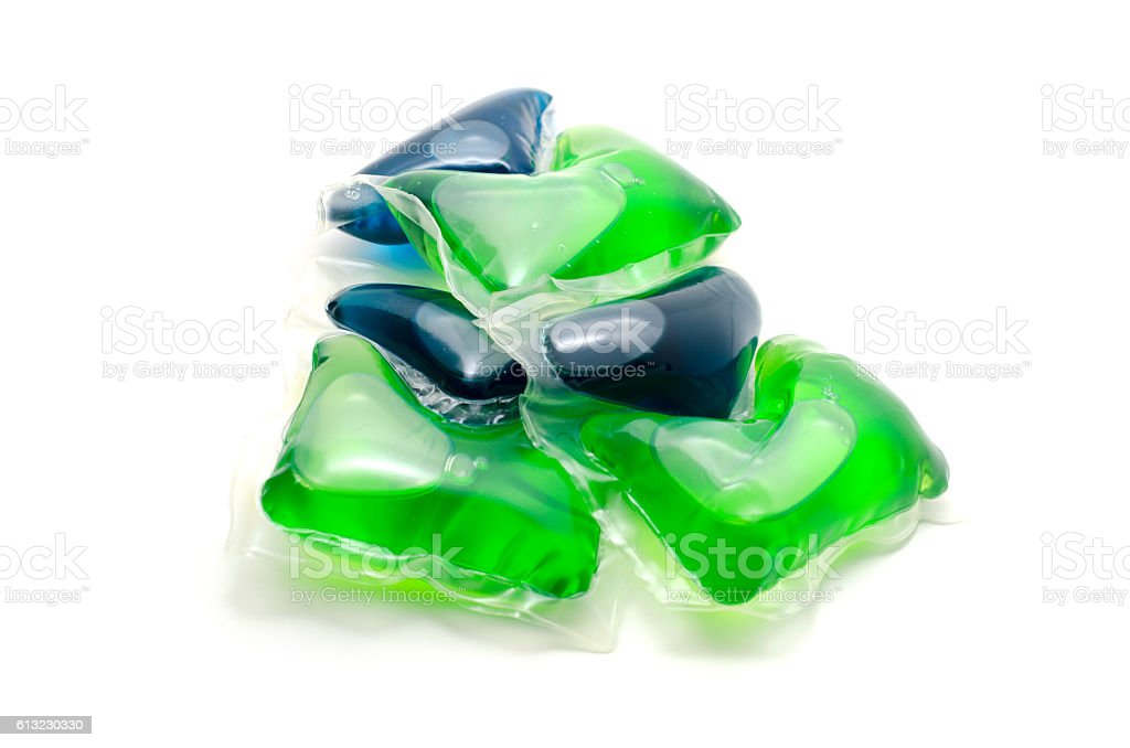 Gel laundry capsules detergent isolated on white. stock photo