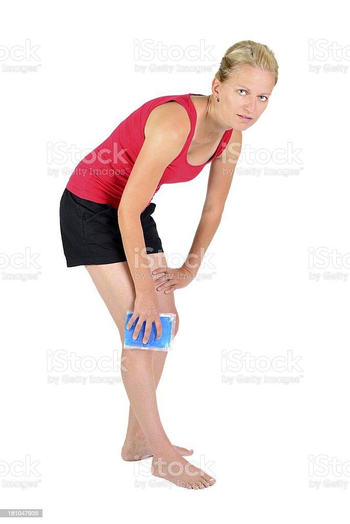 gel pack on knee royalty-free stock photo