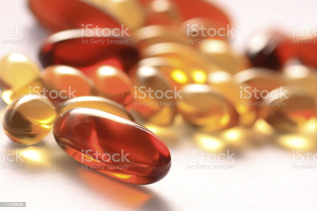 gel vitamin supplement capsules stock photo
