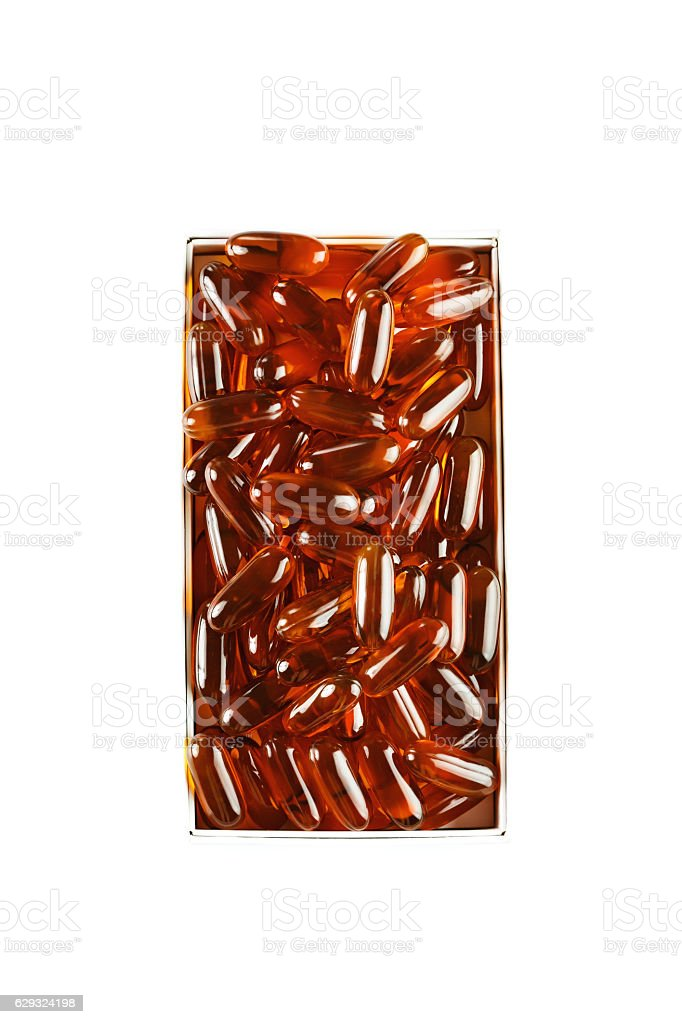 Gelatin gel capsules on white background stock photo