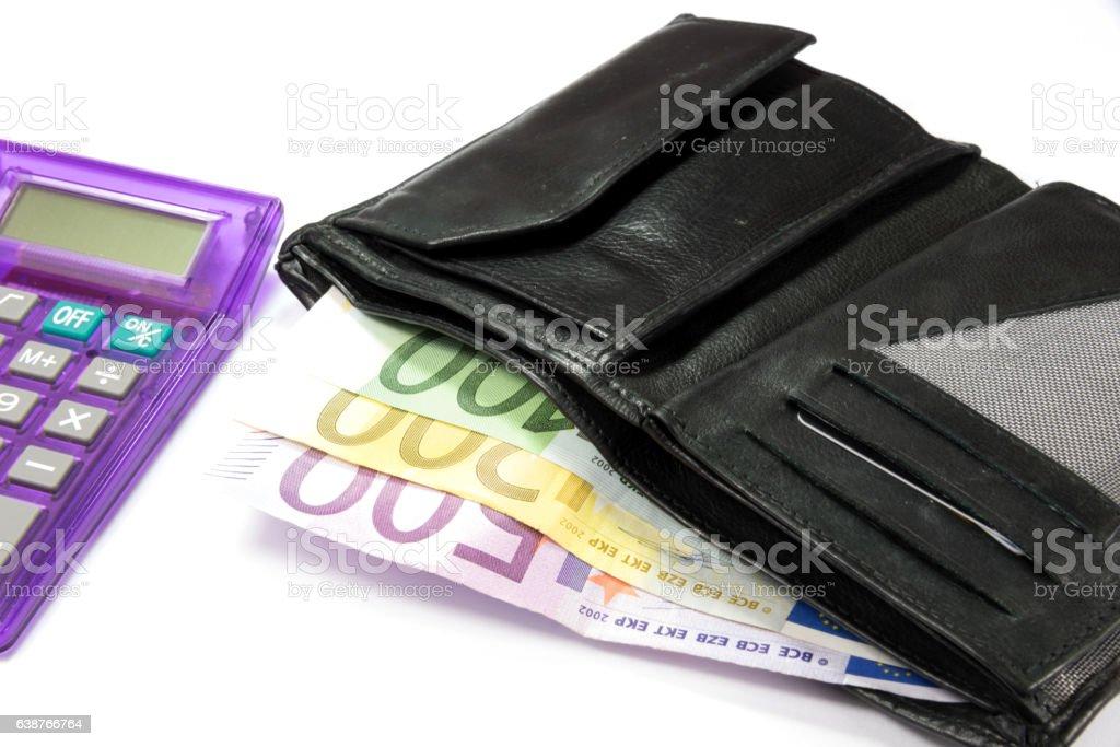 Gelbörse und Euro Geldscheine stock photo