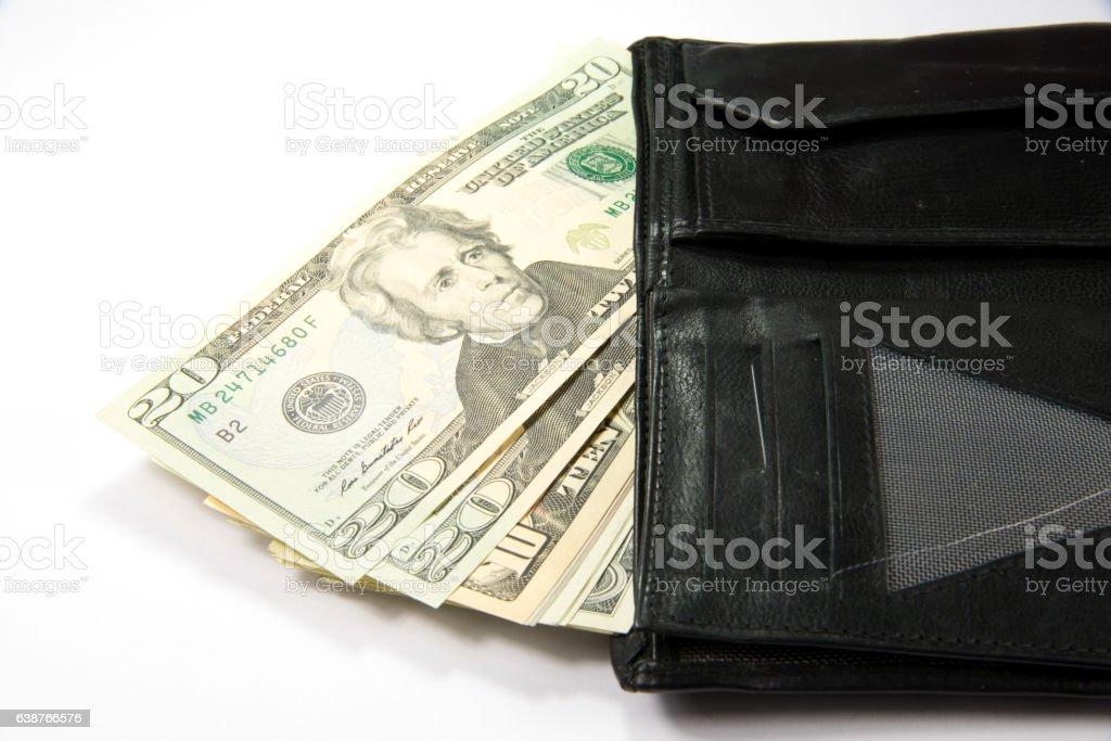 Geldbörse und Dollarscheine stock photo