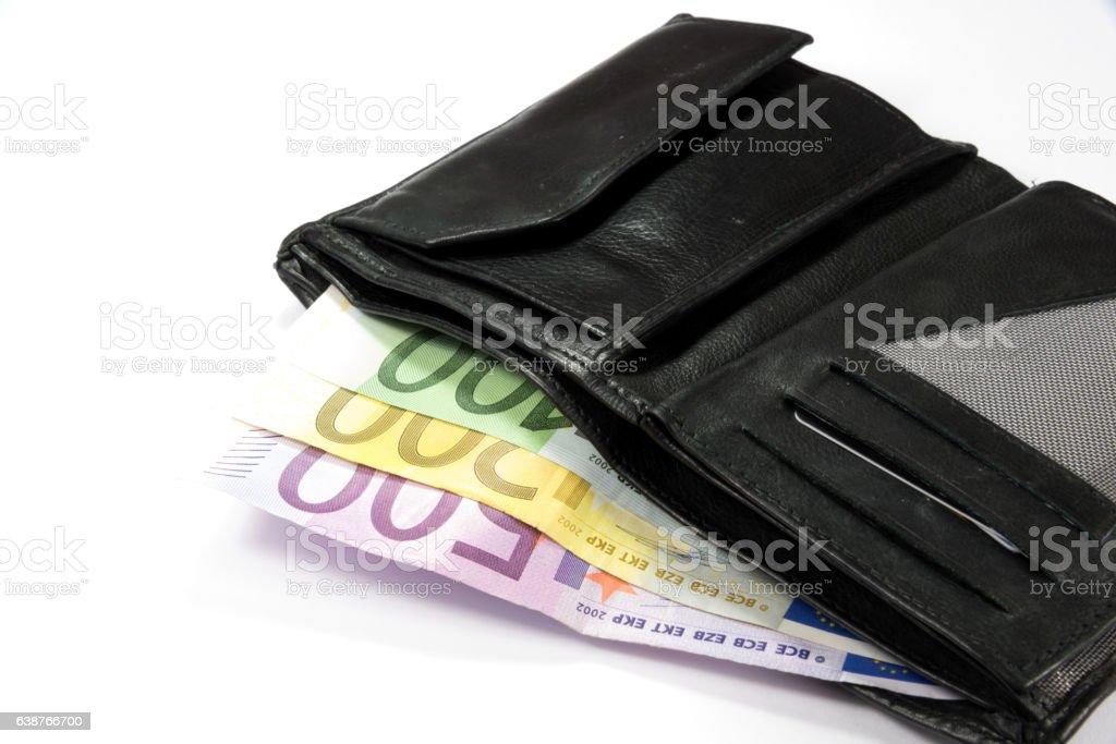 Geldbörse und Euro Geldscheine stock photo