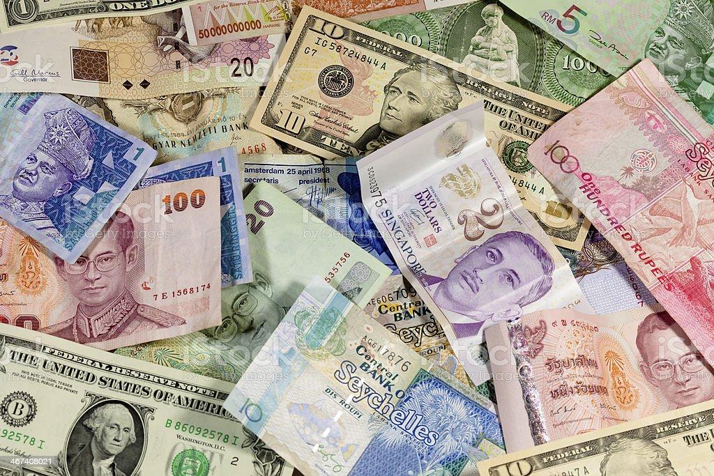 Geldscheine unterschiedlicher Währungen stock photo