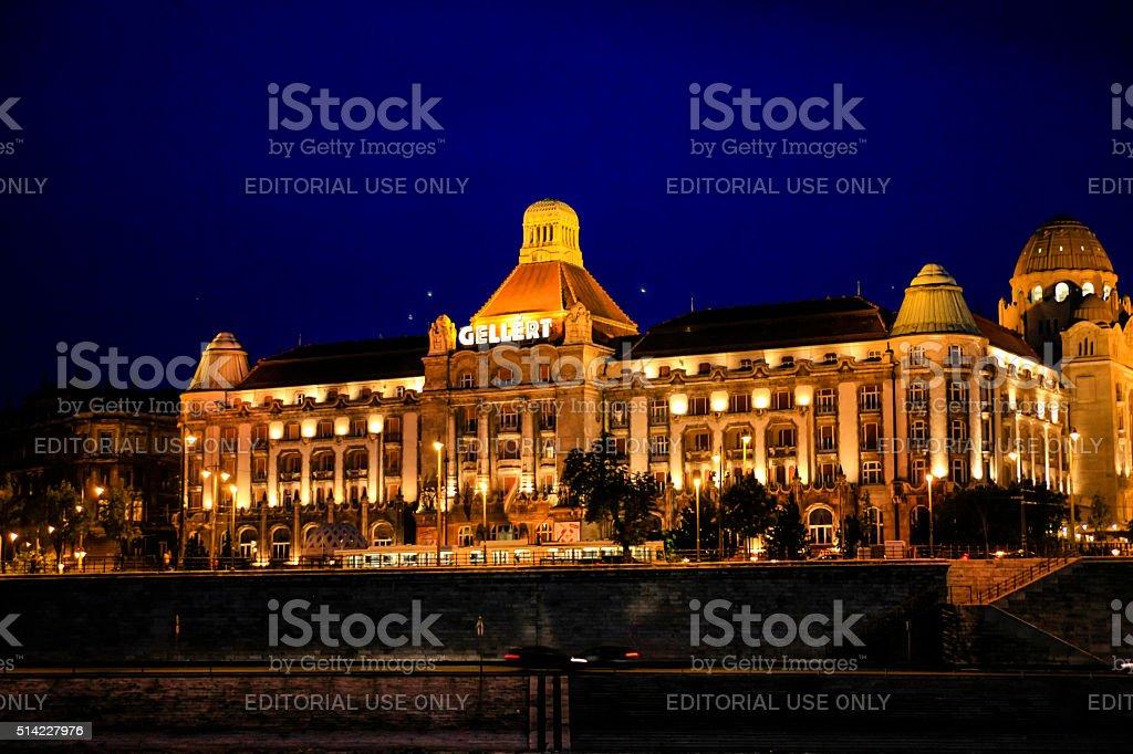 Gellert Astoria Hotel at night in Budapest, Hungary stock photo