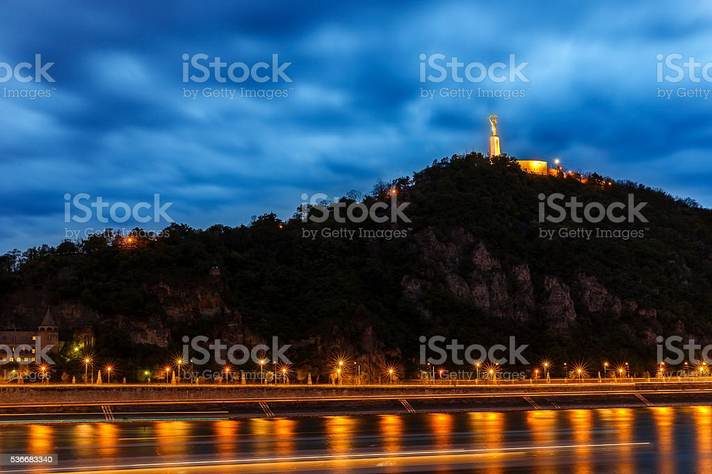 Gellert Hill and Statue of Liberty in Budapest stock photo
