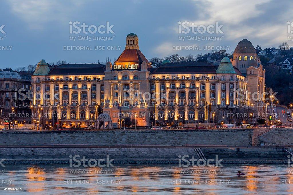 Gellert Hotel in Budapest at dusk stock photo