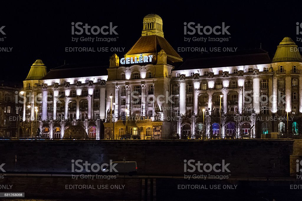 Gellert Hotel Palace night facade . stock photo