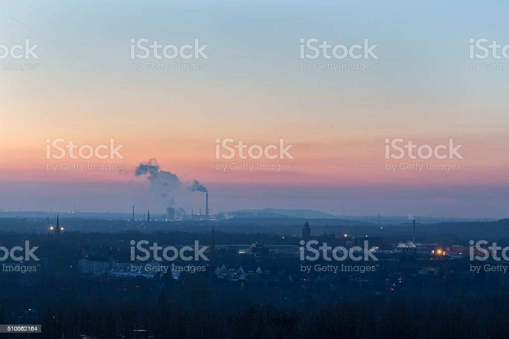 Gelsenkirchen panorama at sunset stock photo