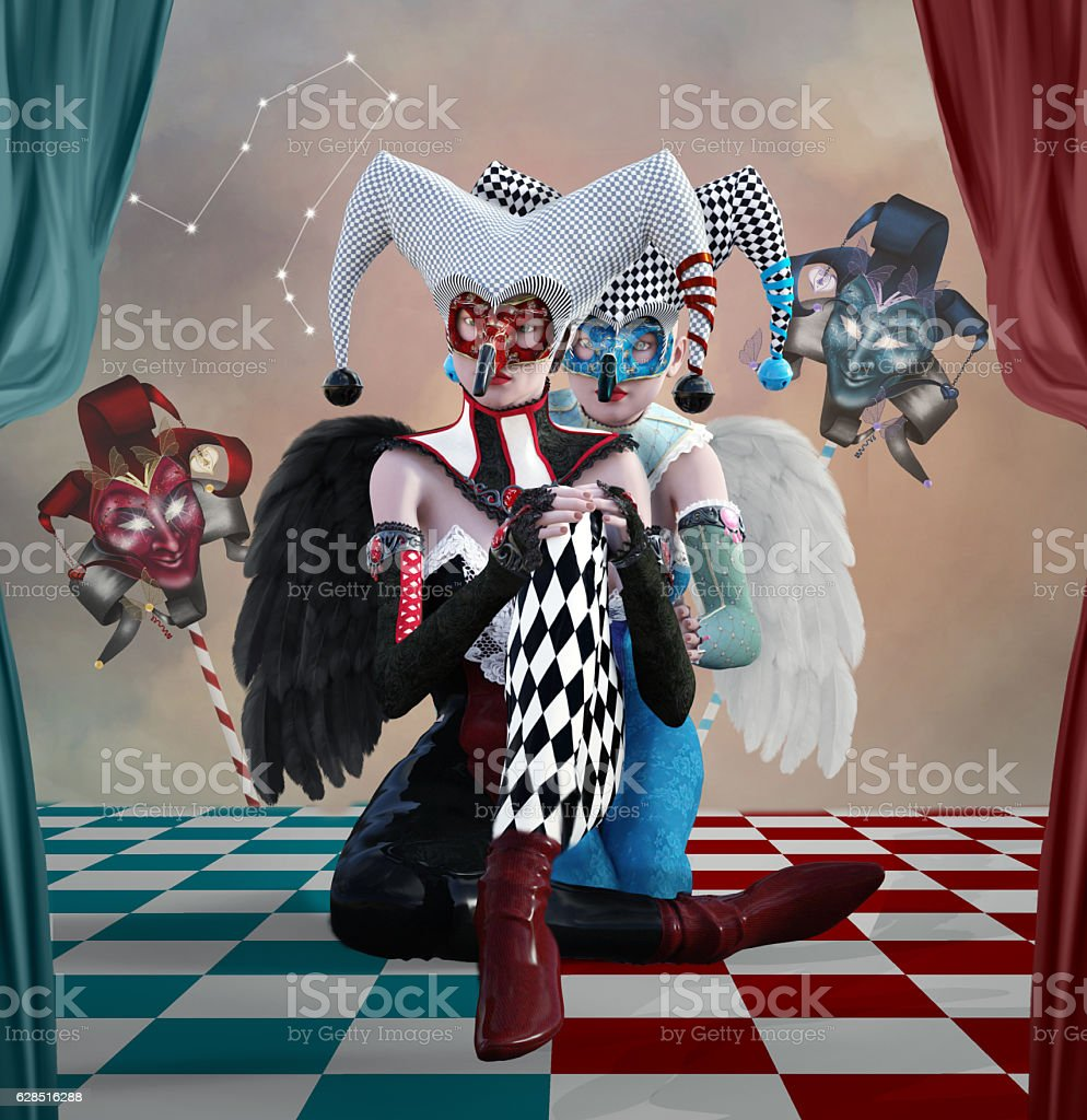 Gemini as two beautiful harlequins stock photo