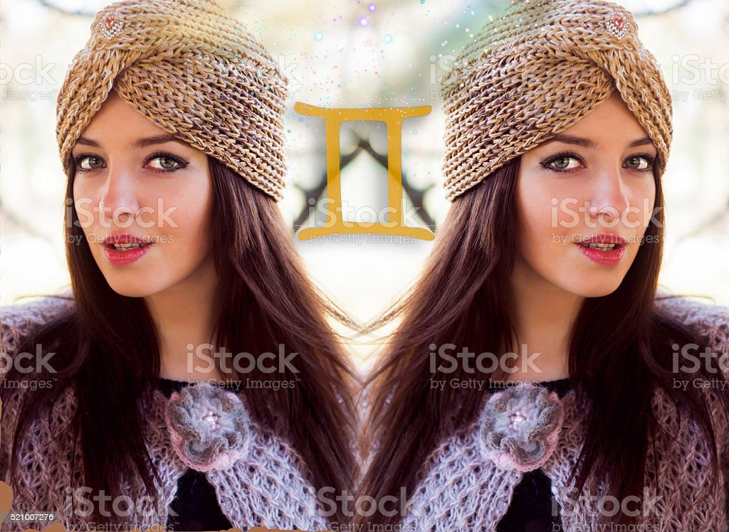 Gemini zodiac, astrology stock photo
