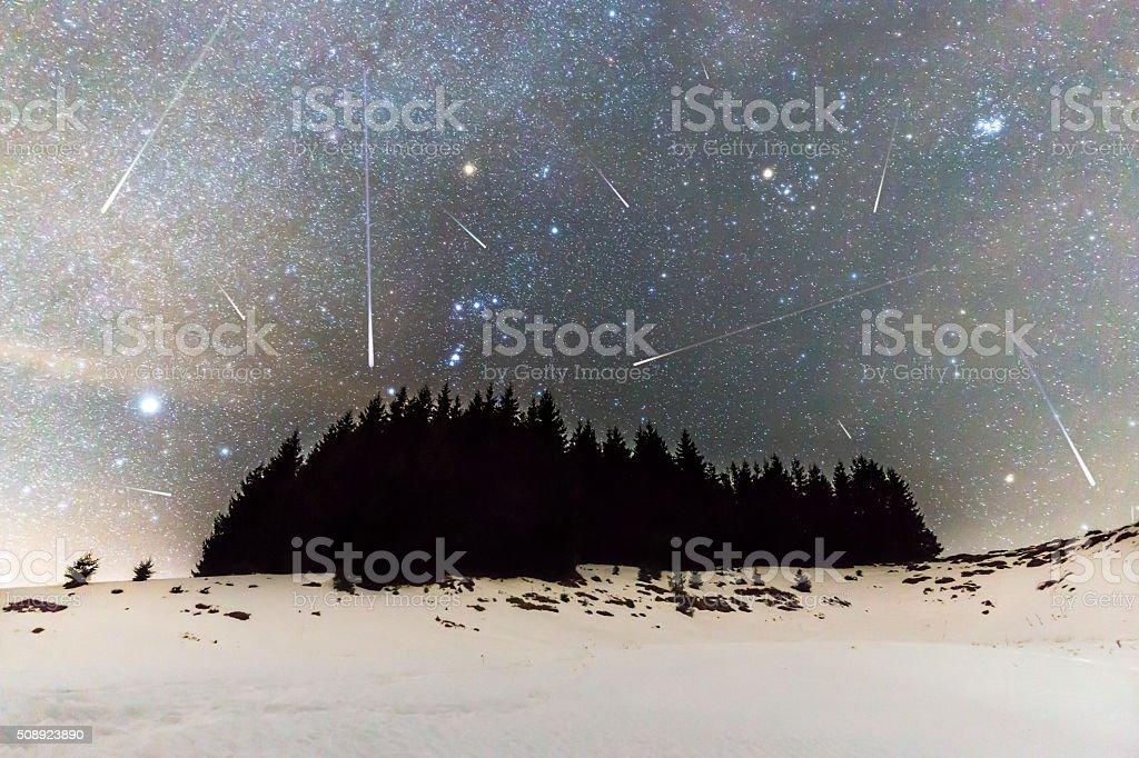 Geminids Meteor Shower stock photo