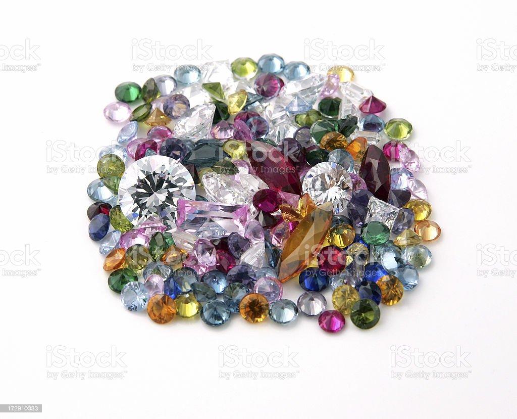 Gems and Gemstones on White royalty-free stock photo
