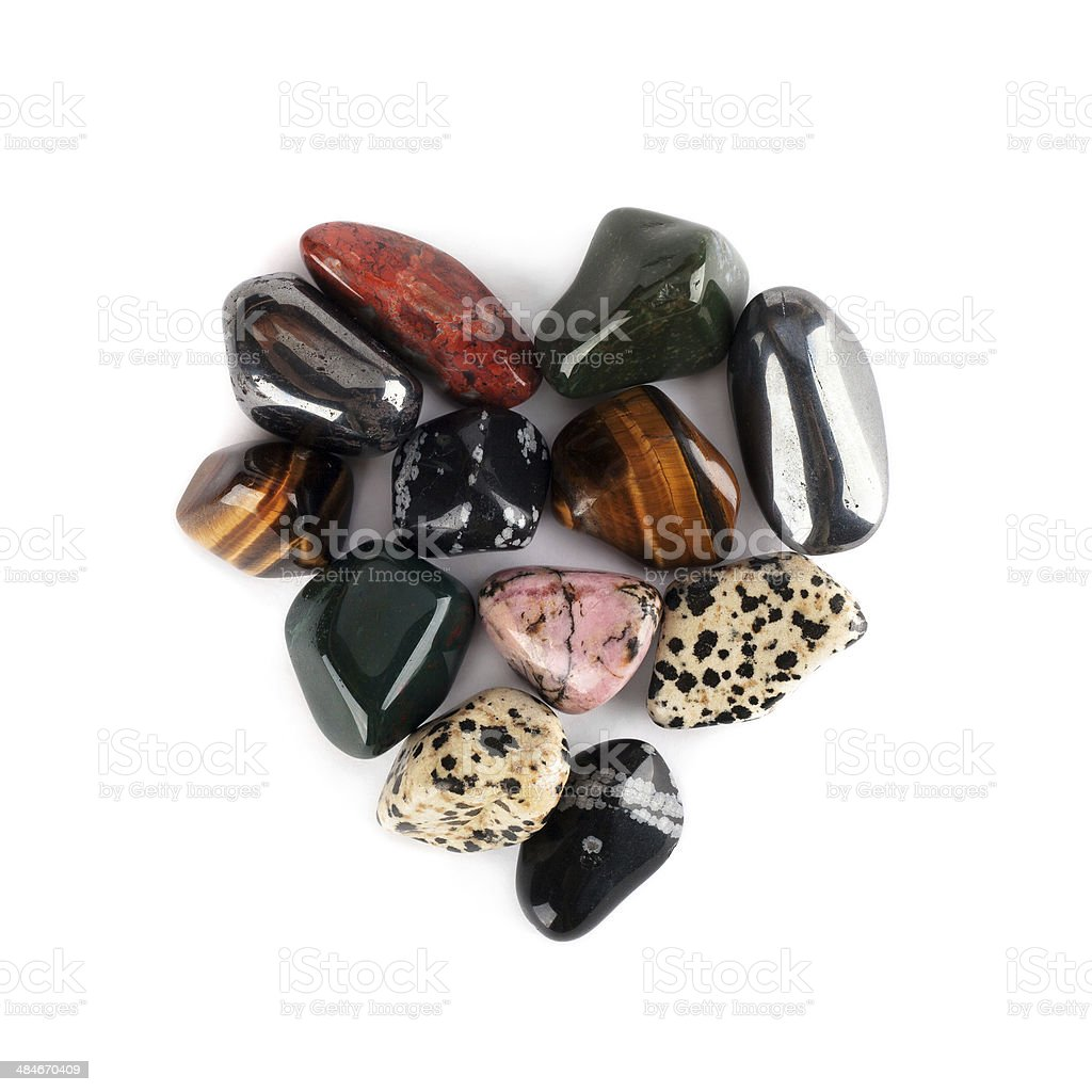 gems in the form of heart isolated stock photo