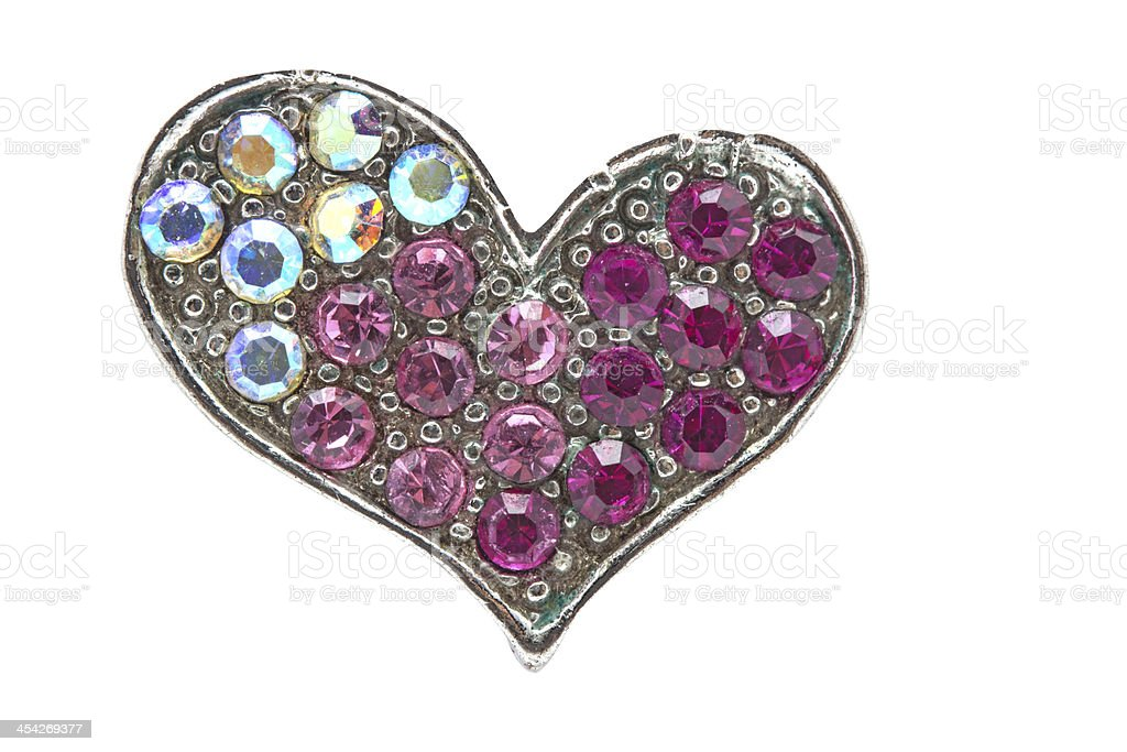 gems shaped of heart  isolate on white with clipping path royalty-free stock photo