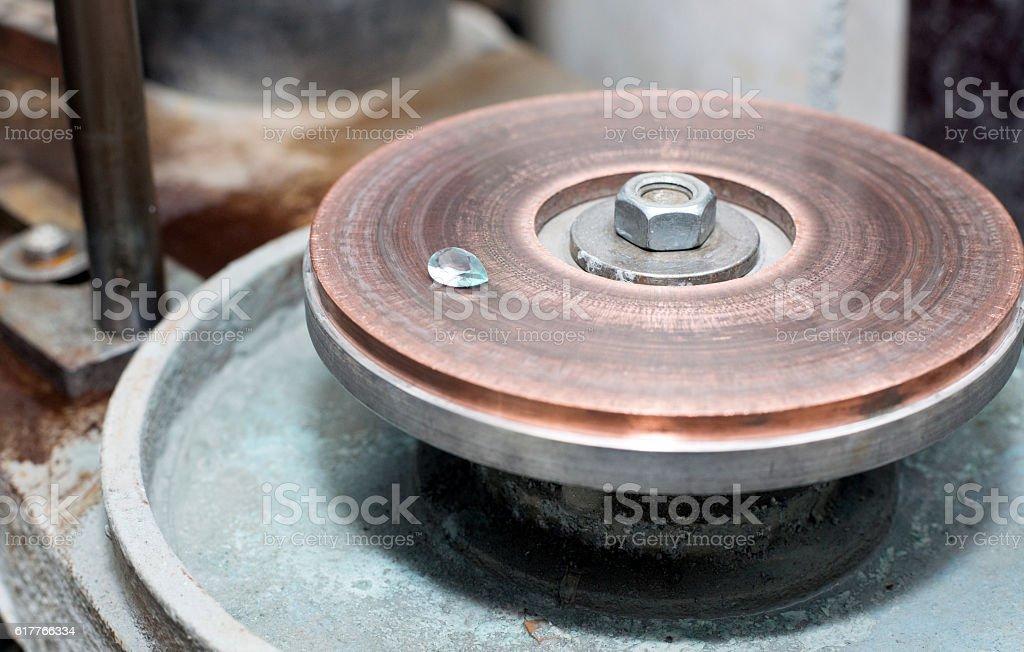 Gemstone aquamarine in a gemstone workshop stock photo