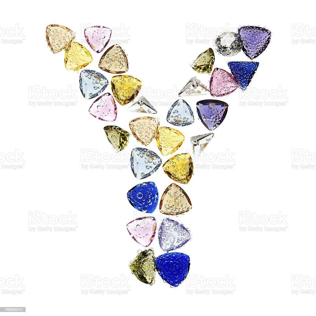 Gemstones alphabet, letter Y. royalty-free stock photo