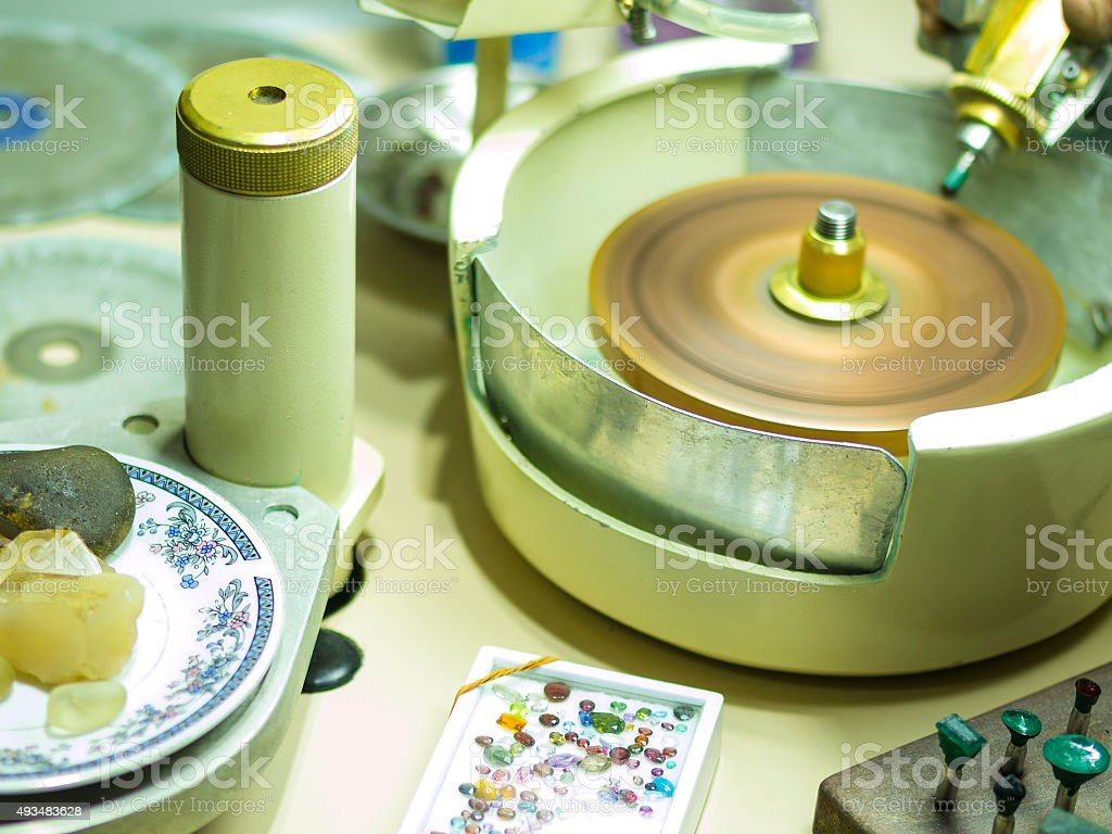 Gemstones grinding in Sri Lanka stock photo
