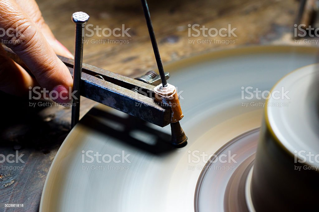 Gemstones grinding stock photo