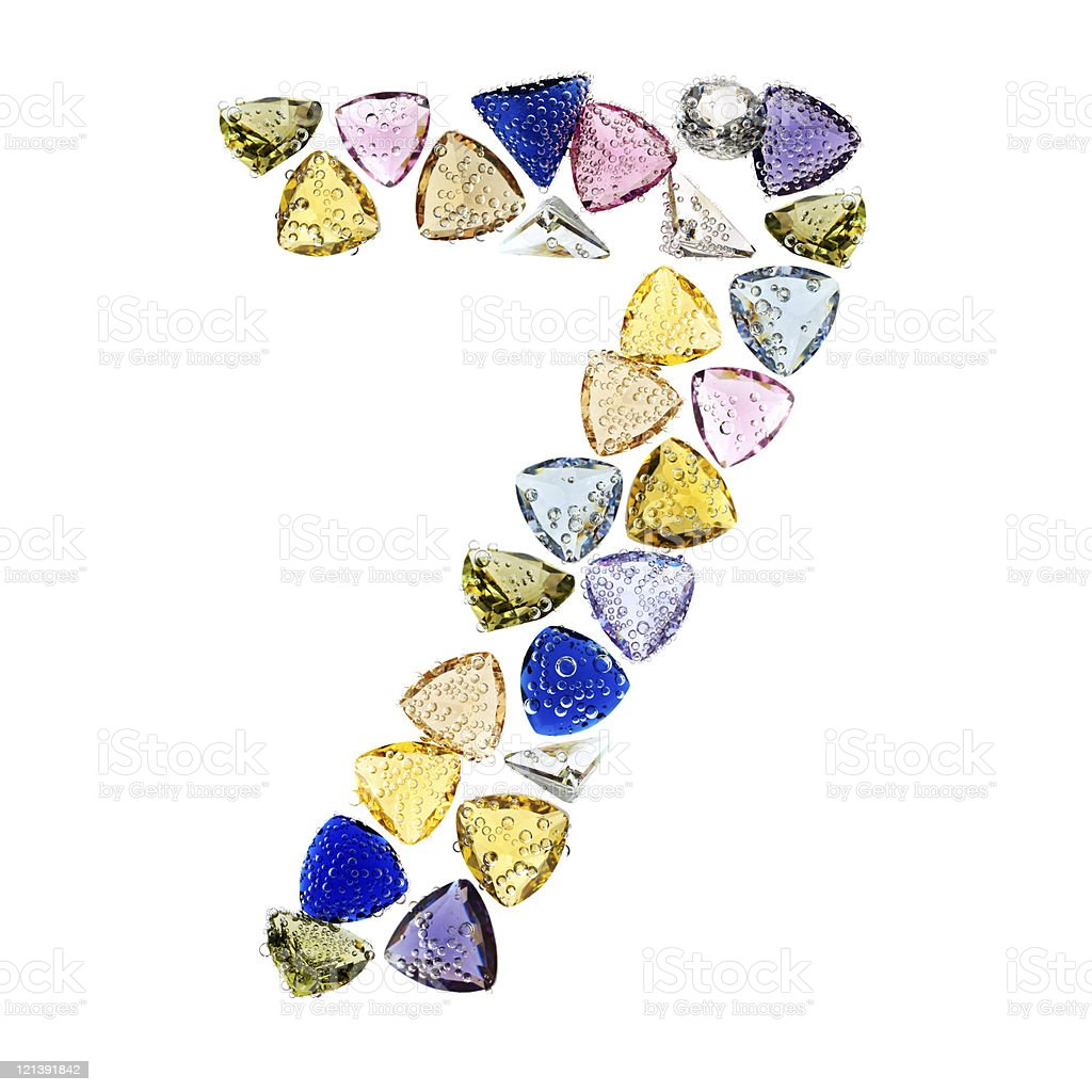 Gemstones numbers collection, figure 7. royalty-free stock photo
