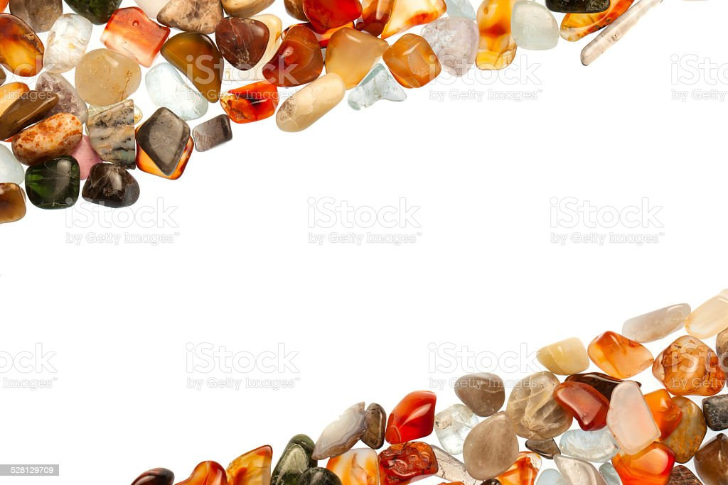Gemstones on a white background stock photo