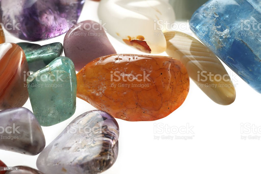 Gemstones on a white background royalty-free stock photo